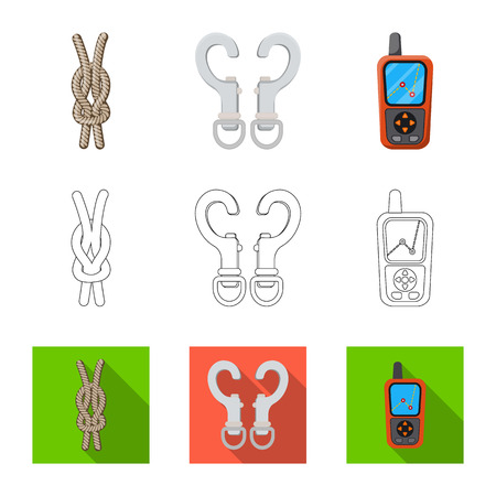 Vector design of mountaineering and peak symbol. Collection of mountaineering and camp vector icon for stock.