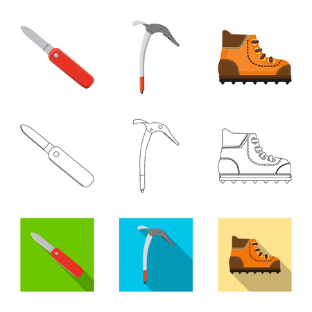 Vector illustration of mountaineering and peak symbol. Collection of mountaineering and camp stock vector illustration.