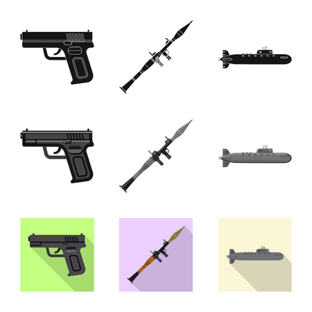 Vector design of weapon and gun symbol. Set of weapon and army stock vector illustration. Illustration