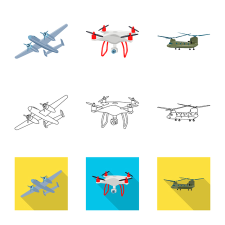 Vector illustration of plane and transport sign. Set of plane and sky stock vector illustration.