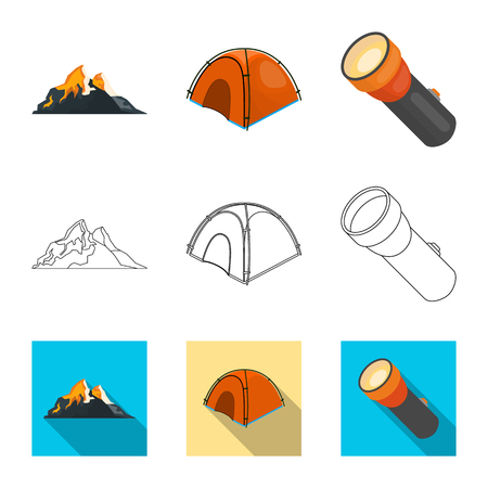 Vector illustration of mountaineering and peak logo. Collection of mountaineering and camp stock symbol for web.
