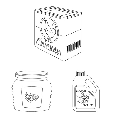 Vector illustration of can and food symbol. Collection of can and package stock symbol for web. Ilustrace