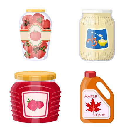 Vektordesign der Dose und des Nahrungsmittelsymbols. Sammlung von Dosen- und Verpackungssymbolen für das Web.