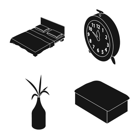 Isolated object of bedroom and room symbol. Collection of bedroom and furniture vector icon for stock.