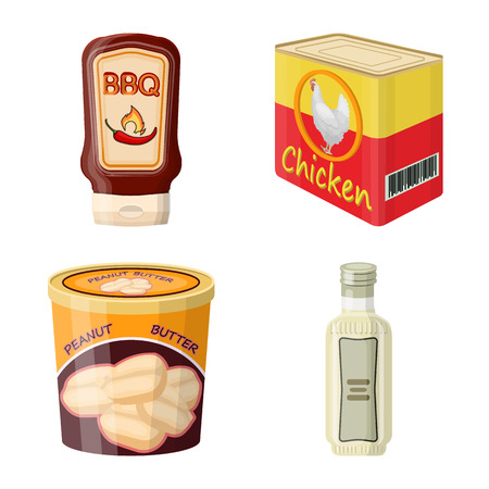 Isolated object of can and food logo. Set of can and package stock symbol for web. Banco de Imagens - 114321414