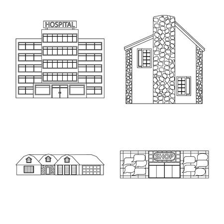 Vector design of building and front icon. Collection of building and roof stock vector illustration. Ilustração