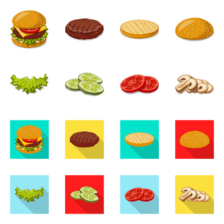 Vector design of burger and sandwich logo. Collection of burger and slice stock vector illustration. Vectores
