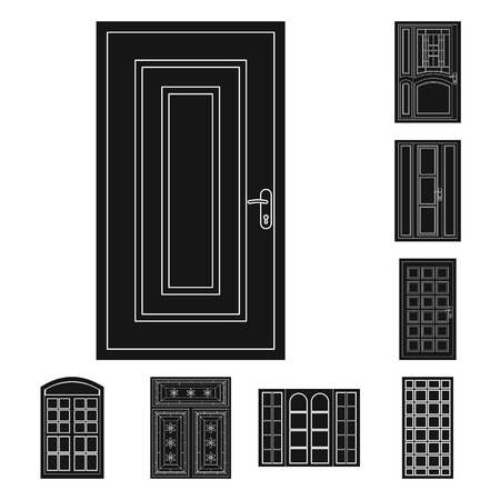 Vector illustration of door and front logo. Collection of door and wooden vector icon for stock.