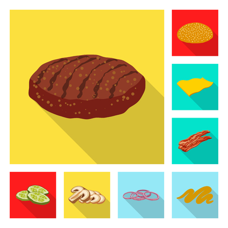 Vector design of burger and sandwich sign. Set of burger and slice vector icon for stock. Illustration