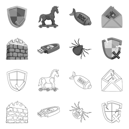 Vector design of virus and secure sign. Collection of virus and cyber vector icon for stock. 矢量图像