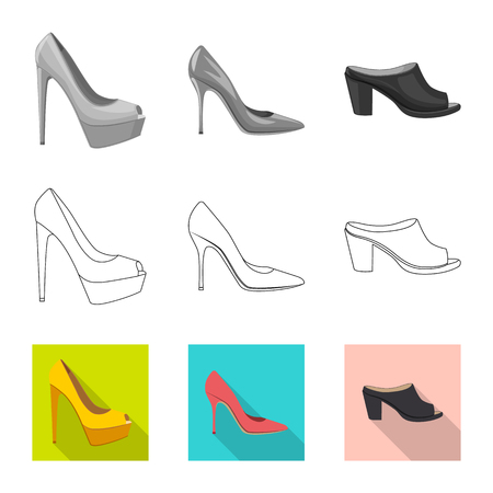 Isolated object of footwear and woman sign. Set of footwear and foot stock symbol for web.