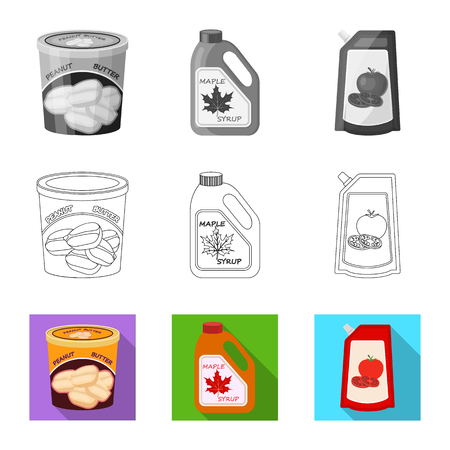 Vector design of can and food symbol. Collection of can and package stock vector illustration.