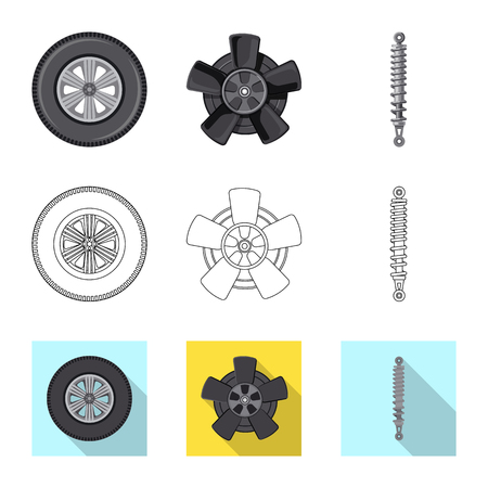 Vector illustration of auto and part icon. Set of auto and car stock symbol for web.