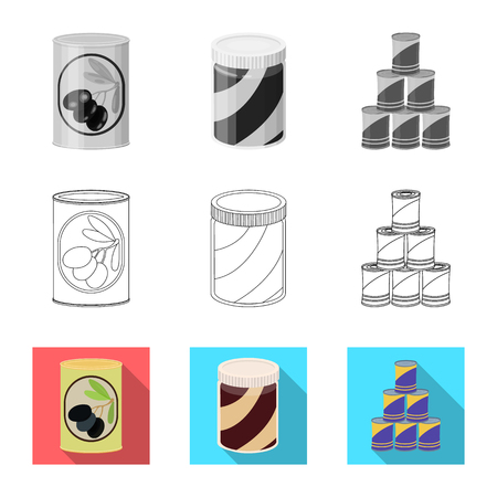 Vector design of can and food logo. Set of can and package stock symbol for web. Illustration