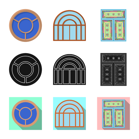Vector illustration of door and front icon. Set of door and wooden stock symbol for web.