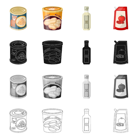 Isolated object of can and food symbol. Set of can and package vector icon for stock.