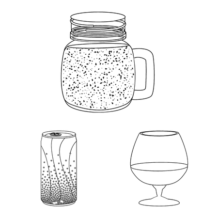 Vector illustration of drink and bar icon. Collection of drink and party stock vector illustration.