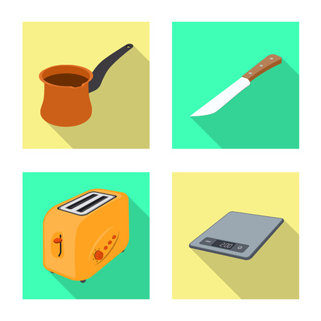 Vector illustration of kitchen and cook icon. Set of kitchen and appliance stock symbol for web.
