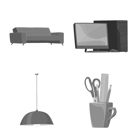 Isolated object of furniture and work sign. Set of furniture and home stock symbol for web.