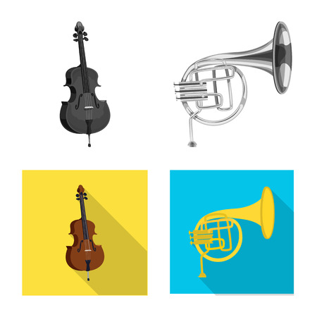 Vector design of music and tune logo. Set of music and tool stock symbol for web. Banque d'images - 114361692