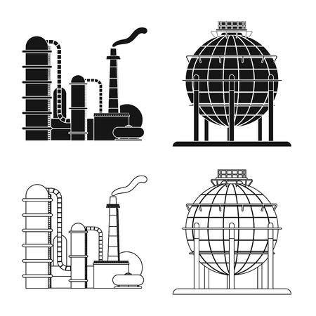 Diseño vectorial de icono de petróleo y gas. Colección de símbolo de stock de petróleo y gasolina para web.