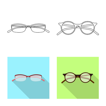 Vector design of glasses and frame icon. Set of glasses and accessory stock symbol for web.