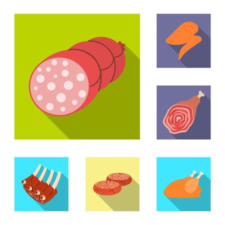 Illustrazione vettoriale del logo di carne e prosciutto. Raccolta di carne e cucina illustrazione vettoriale d'archivio. Logo