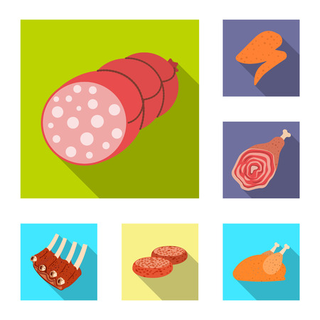 Vector illustration of meat and ham logo. Collection of meat and cooking stock vector illustration.