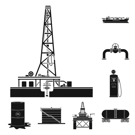 Vector design of oil and gas logo. Collection of oil and petrol vector icon for stock.