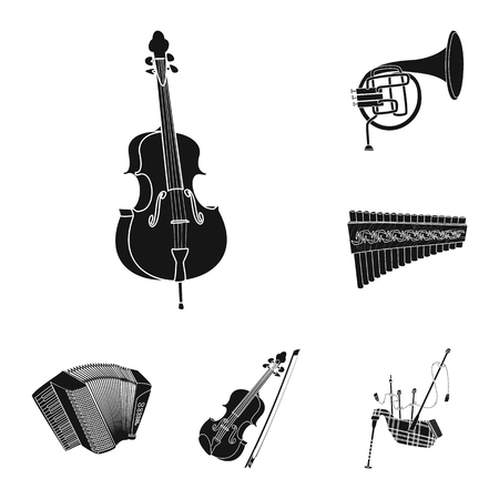 Isolated object of music and tune logo. Collection of music and tool stock vector illustration. Çizim