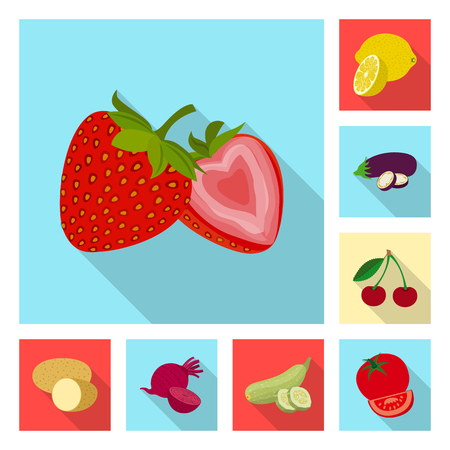 Vector design of vegetable and fruit symbol. Set of vegetable and vegetarian stock symbol for web. Ilustracja