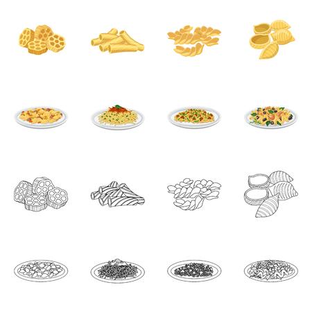 Illustrazione vettoriale del logo di pasta e carboidrati. Raccolta di pasta e maccheroni simbolo azionario per il web.