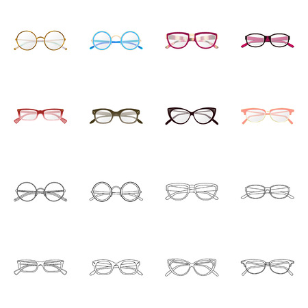 Vector design of glasses and frame logo. Set of glasses and accessory stock symbol for web.