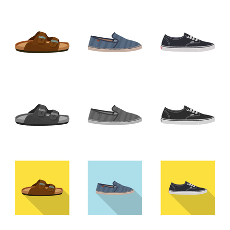 Vector illustration of shoe and footwear logo. Set of shoe and foot stock symbol for web.