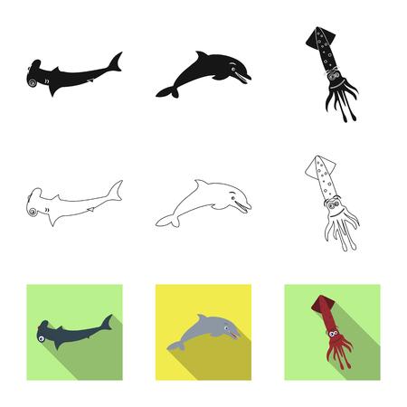 Vector illustration of sea and animal symbol. Collection of sea and marine stock vector illustration.