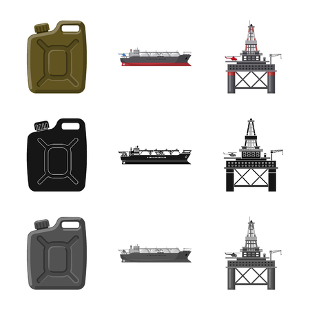 Vector illustration of oil and gas logo. Collection of oil and petrol vector icon for stock. Illustration