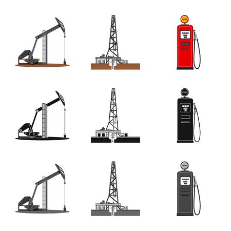 Isoliertes Objekt der Öl- und Gasikone. Satz Öl- und Benzinvektorsymbol für Lager.