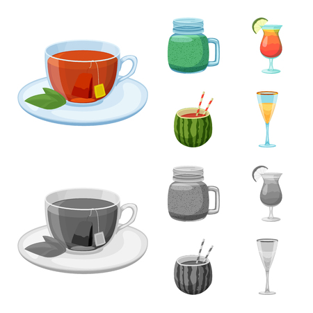 Vector illustration of drink and bar icon. Collection of drink and party stock symbol for web.