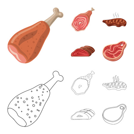 Vector illustration of meat and ham sign. Set of meat and cooking stock symbol for web.