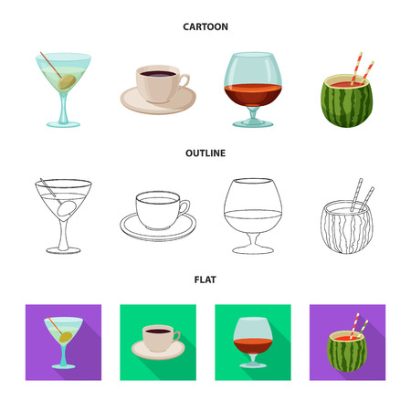 Vector illustration of drink and bar logo. Set of drink and party vector icon for stock.