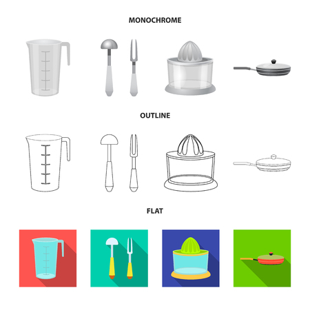Vector illustration of kitchen and cook icon. Collection of kitchen and appliance vector icon for stock.