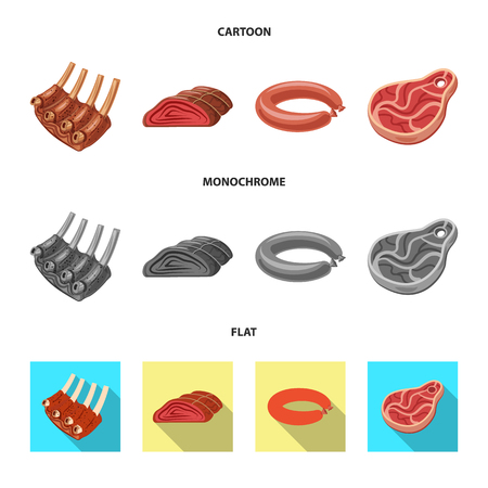 Vector design of meat and ham sign. Set of meat and cooking vector icon for stock.