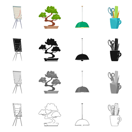 Vector illustration of furniture and work logo. Set of furniture and home vector icon for stock.
