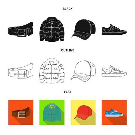 Vector illustration of man and clothing symbol. Set of man and wear stock symbol for web.