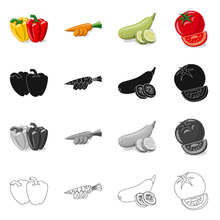 Vector design of vegetable and fruit sign. Set of vegetable and vegetarian stock vector illustration.