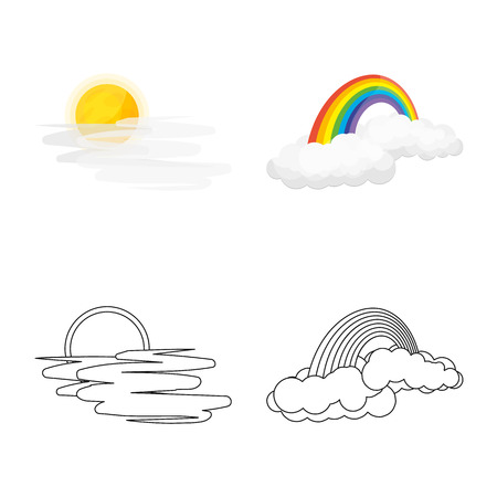 Vector design of weather and climate logo. Collection of weather and cloud stock vector illustration. Ilustração