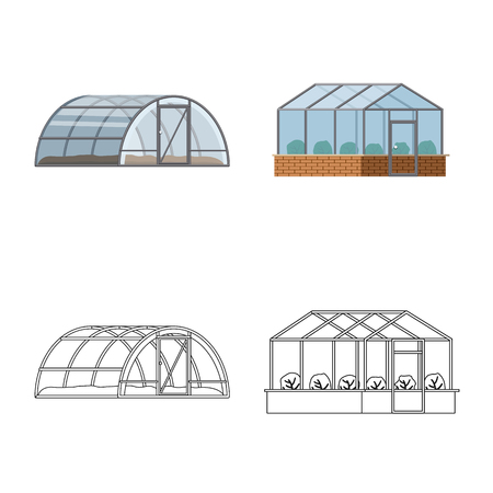 Vector design of greenhouse and plant sign. Collection of greenhouse and garden stock vector illustration.