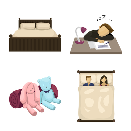 Vector illustration of dreams and night icon. Set of dreams and bedroom stock vector illustration.