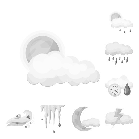 Isolated object of weather and climate symbol. Collection of weather and cloud stock symbol for web. Vecteurs