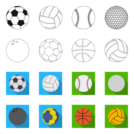 Vector design of sport and ball icon. Set of sport and athletic stock vector illustration.
